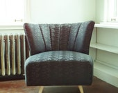 Mid Century Modern Swivel Lounge Chair:  Black Brocade