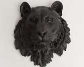 The Ludwig - Black Resin Tiger Head- Resin Black Faux Taxidermy- Chic & Trendy