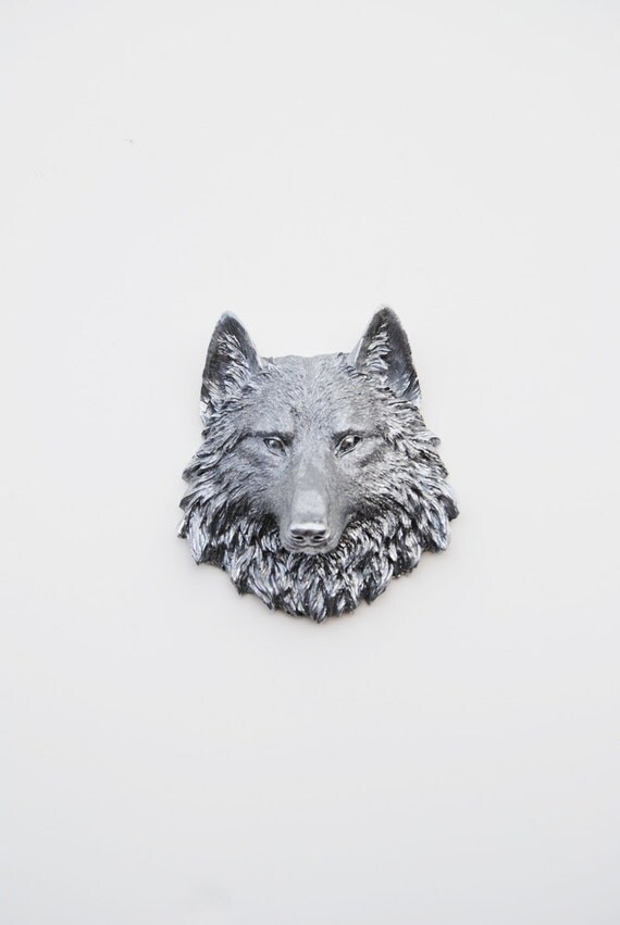 RESERVED for Dan - The Friscos - 4 Silver Mini Resin Wolf Head- Resin White Faux Taxidermy- Chic & Trendy