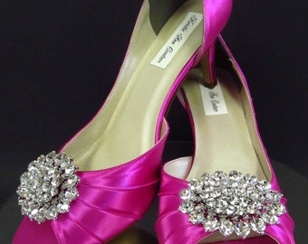 Couture Bridal Shoes With Badgley Mischka Style Brooch