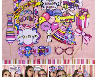 girl birthday photo booth props in pink, purple and yellow - perfect accesory for your next birthday party - any girl theme