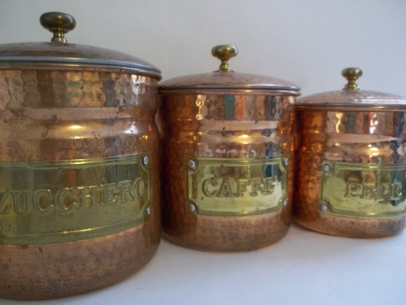 set of 3 copper canisters italian copper kitchen wares