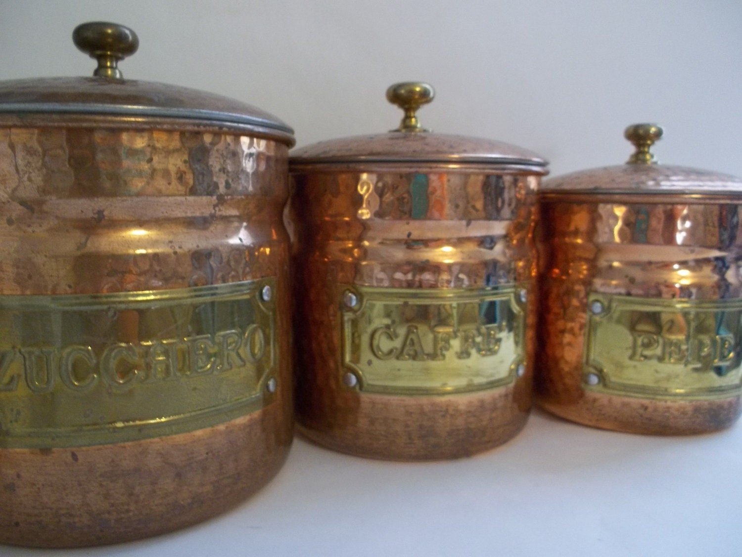 kitchen canister set antique copper set of 4 in kitchen canisters
