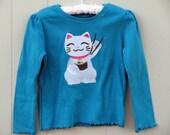 Maneki-neko Japanese lucky cat sushi chopsticks turquoise blue size 4 long sleeve
