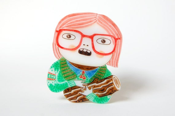 LOG LADY - shrink plastic brooch