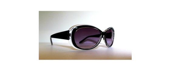 Vintage High Fashion Black and Clear Sunglasses with Smoke Lenses - Under 20 Gift