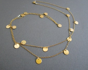 17 Gold filled disc Coin Long Necklace, Gold coin necklace, Courtney Cox Cougar Town. Personalize the coin with stamped initial on the coin.