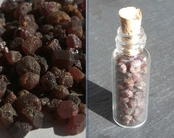 Almandine GARNET crystals in a Glass bottle with Natural cork top High Quality material find