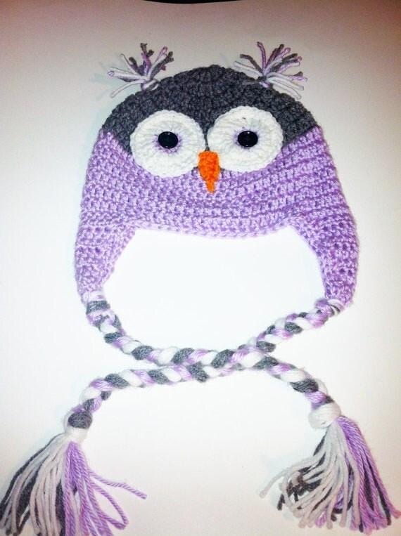Handmade Crochet Hat, Owl Beanie, Ear Flaps, Braid Ties, Crocheted Beanie, Christmas Hat, Purple Crochet Hat