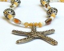 Starfish Shell Necklace Silver Pendant Summer Beach Seashells Beads Resort Cruise Wear Fashion Tan Ivory Mother of Pearl Glow Jewelry