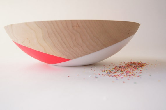 "Wooden Salad Bowl, 12"" Neon Pink and White, Modern Decor, CHERRY WOOD, Wedding Gift"