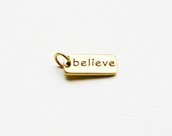 Believe Bronze Word Charm, Believe Tag Charm, Believe Charm, Bronze Believe Charm, Believe Tag Charm, Inspirational Charm