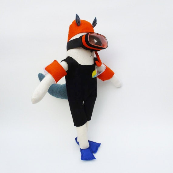Ooak Wolf doll - diver with snorkel, mask and arm bands
