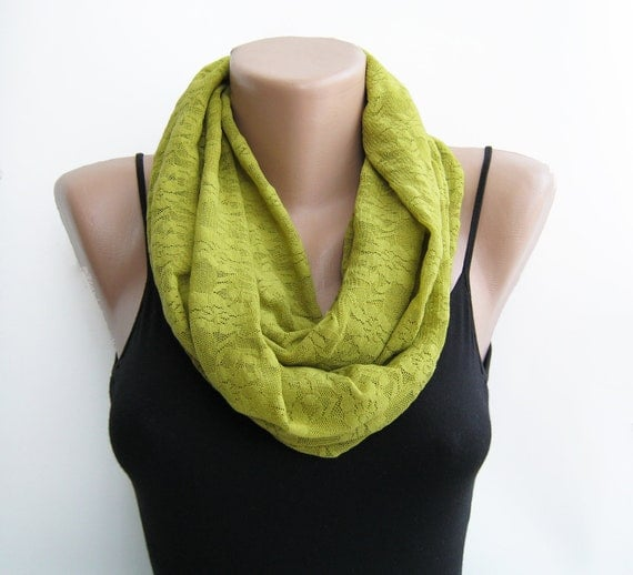 Lace infinity scarf, olive green loop scarf, autumn scarf