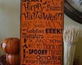 Halloween Subway/Typography Primitive Wooden Sign