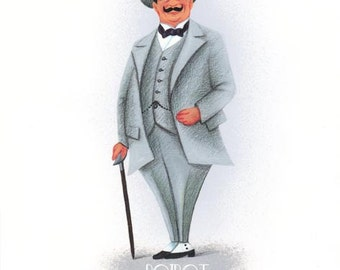 Poster Hercule Poirot Agatha Christie in grey city suit from an Original painting
