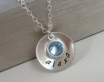 Sterling Silver Hand Stamped Mommy Necklace - Domed Disc Necklace with Swarovski Crystal Birthstone