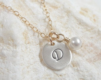 Mixed Metal Initial Necklace - Personalized Custom Jewelry - Celebrity Style - Gold and Silver Initial Necklace - Bridesmaid Gifts