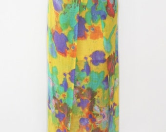 CLEARANCE SALE was 280 now 50 modern hippie summer of love vintage 1980s CERRUTI 1881 tie dye linen blend maxi wrap skirt