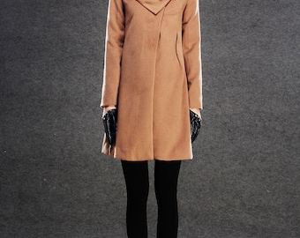 Brown Winter Coat - Cashmere Wool Blend Womens Autumn Winter Midi Swing Coat with Chunky Large Cowl Collar & Side Pockets  C142