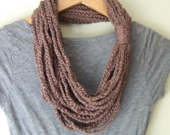 Organic Cotton Scarf / EcoFriendly Clothing / Brown Scarf Necklace / Crochet Chain