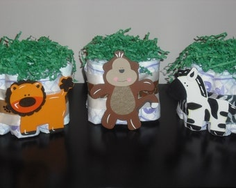 Mini Jungle Animal Diaper Cake