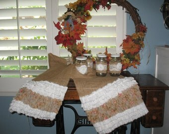 "Fall Country Charm, Thanksgiving Burlap Table Runner, with Rustic Prairie Ruffles 109"" x 13 1/2"""