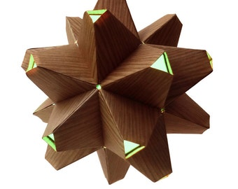 Paper Origami Lamp. Wood Grain and Aqua. 60 sides. (Polyhedra Luminaria Series)