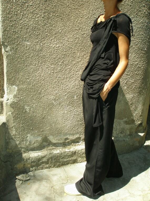 Loose Linen Black Pants / Wide Leg Pants Autumn Collection A05034