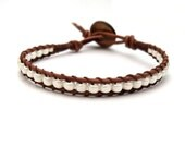 Creamy Pearl White Brown Leather Wrap Bracelet
