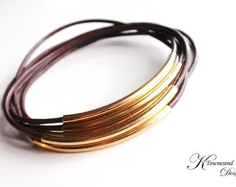 Brown Leather Bangle Bracelet, Leather Bracelets for Women, Gold Tube, Leather Jewelry, Gold Bangle,Bangle Set,Bohemian Jewelry,Boho Jewelry
