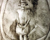 Girl Etching, Drypoint, Mountain, Mount Ararat, 1920's, Abstract