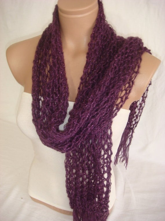 Hand knitted Purple Wool&Mohair Scarf by Arzu's Style
