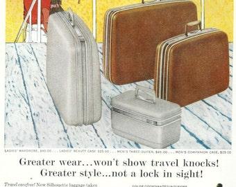 Vintage Samsonite Ad Silhouette Suitcase Bag 1950s Luggage Travel Platinum Grey Desert Tan Shwayder Brothers Wall Decor