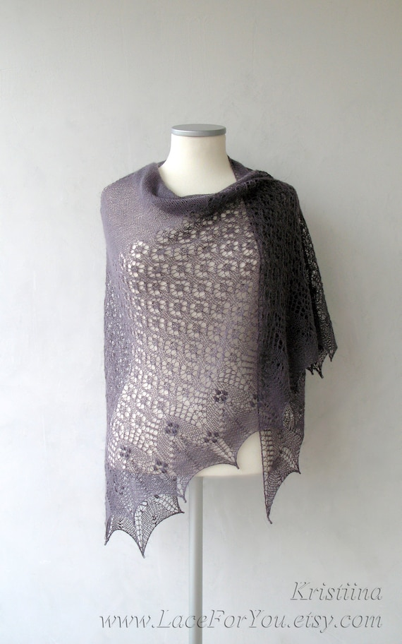 Purple hand knitted luxury shawl with lace and nupps