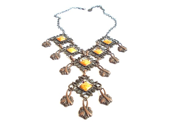 Gemstone Copper Metal necklace, Bib necklace, Metalwork, Custom design necklaces, Metal and beads, Brown necklace, Copper