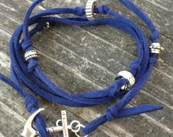 Blue Leather Wrap Around Bracelet with Silver Anchor Charm Hook