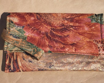 Reduced Asian Shimmery Lotus Flower Clutch
