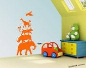 Baby Boy Nursery & Girl VINYL Decal, Wall Decor Art vinyl. Animal Pyramid silhouette. Animal Jungle Illustration. Decor by TangramArtworks