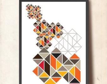 Geometric print. Abstract wall art print. Tangram Geometric poster, A3 size. Scandinavian design inspired. Gift for graduate
