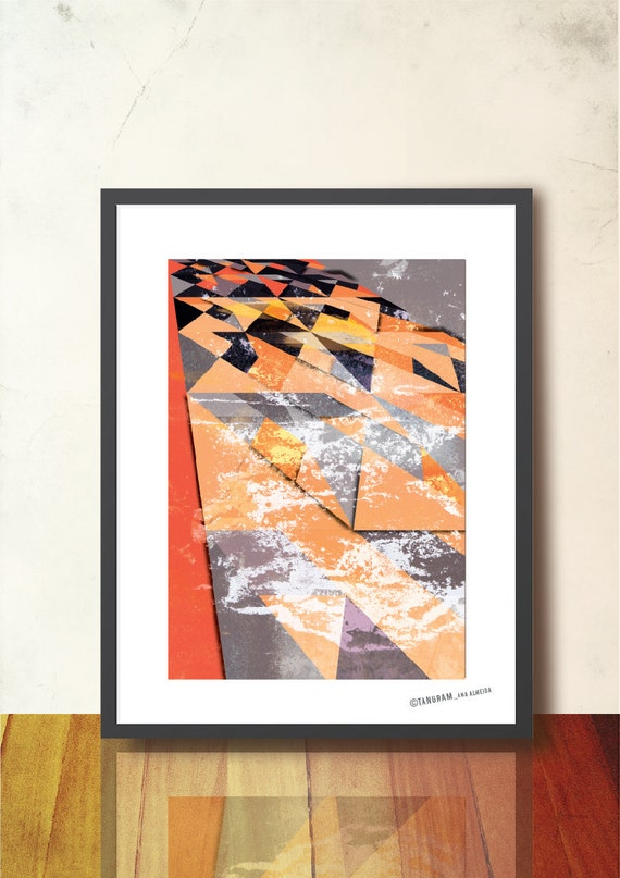 Abstract Geometric Poster, Geometric Tangram Fall Winter Wall Decor A3 Art Print Illustration - Home & Office Decor. Geometric Wall Art