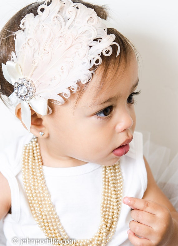 Black  Nagorie Feather headband, Feather baby pheadband with rhinestoe cluster and satin bow