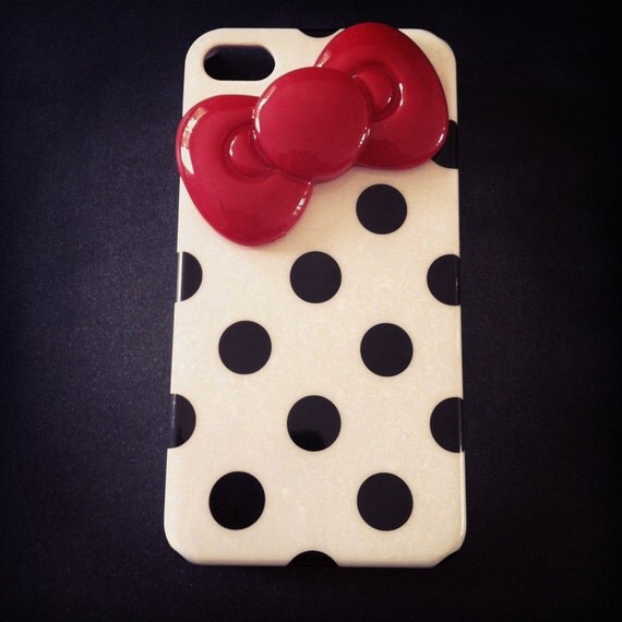 iPhone 4 and iPhone 4S Hello Kitty Red Bow White and Black Polka Dot 3D case
