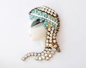 Porcelain Brooch Turquoise Rhinestone Egyptian Princess  Flapper  Girl Vintage Signed Handpainted Collectable Ceramic Jewelry