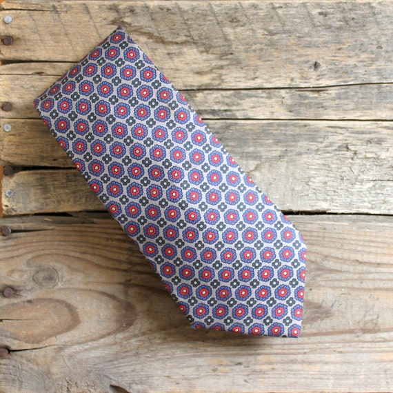 Vintage Men's Tie - Gray with Red and Blue