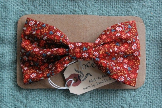 Cranberry Red Floral Bow-Tie Hair Clip - Large Hair Bow - Daisy Blossom Pattern - Made in France Barrette - For Child or Adult