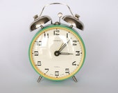 Rare large vintage yellow and mint green Russian mechanical alarm clock from Jantar.