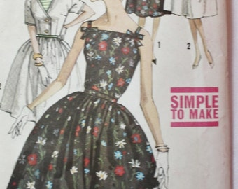 1960s One Piece Dress and Jacket Vintage Sewing Pattern Simplicity 3961 with Full Skirt Bust 32 UNCUT