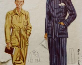 Men's and Youth Pajamas Pattern,  Vintage McCall Men's Patterns 4475,  1940s, Size Medium
