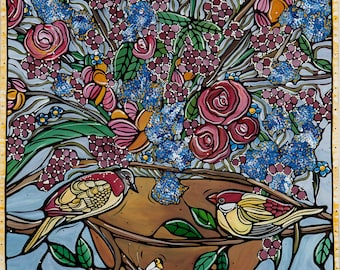 Blue Bird Art Print. Birds and Flowers - Floral Kitchen Decor - Blue Fine Art Print - Yellow Love Birds with Blue Flowers